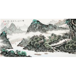 著名书画家蓝国强四尺山水作品《漓江边上有渔家》
