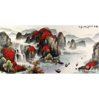 杨炳钧最新力作鸿运山水画作品《胜地金秋》