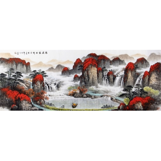 【已售】聚宝盆山水画 杨炳钧六尺横幅国画作品《鸿运当头祥云生》