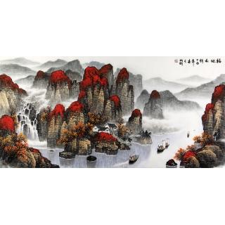杨炳钧四尺横幅鸿运山水画作品《福地秋韵》