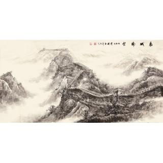 【已售】雪景长城 季宝国四尺写意山水画作品《长城瑞雪》