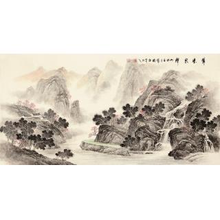 【已售】季宝国四尺写意山水画作品《翠壁泉聲》