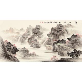 季宝国四尺写意山水画作品《高山流水》