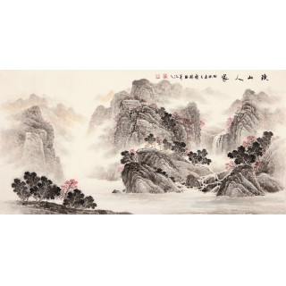 【已售】季宝国四尺写意山水画作品《溪山人家》