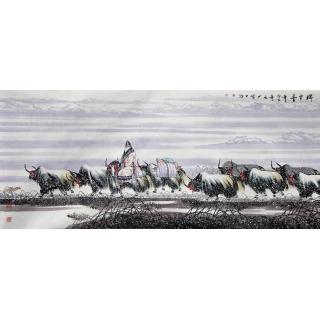 著名书画家宋庆八尺横幅人物画《瑞雪丰年》