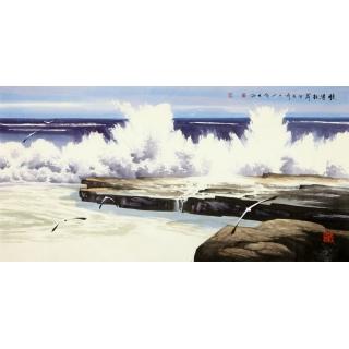 中美协会员 宋庆四尺横幅大海《惊涛拍岸》
