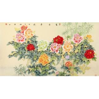 张洪山六尺横幅牡丹竹子图《富贵平安》