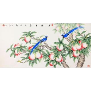 国家一级美术师张洪山最新作品《多福多寿》