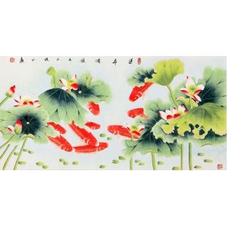 【已售】国家一级美术师张洪山荷花九鱼图《连年有余》