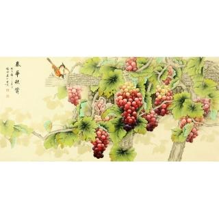 张琳四尺横幅葡萄图《春华秋实》