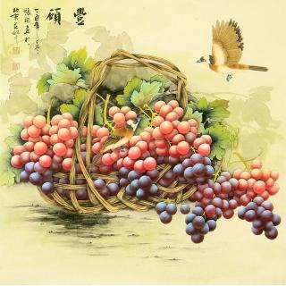 餐厅挂画首选 张琳斗方花鸟画葡萄图《丰硕》