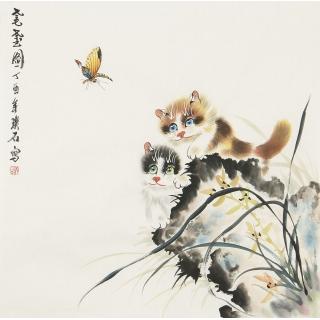 写意国画猫 璞石斗方动物画《耄耋图》