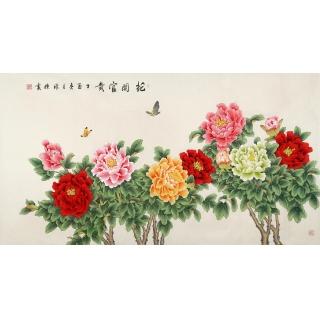 国画牡丹 张清栋精品牡丹图《花开富贵》