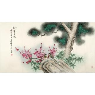 张清栋最新花鸟画作品《岁寒三友》