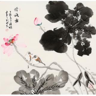 【已售】国画荷花 张清栋四尺斗方花鸟画作品《荷韵图》