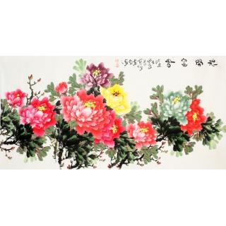 实力派画家李东献四尺横幅牡丹画《花开富贵》