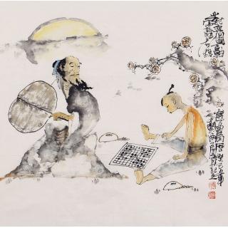 李东献四尺斗方人物画《对弈图》