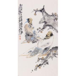 李东献三尺竖幅人物画《对饮图》