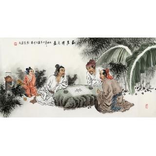 河南美协 刘中芬四尺人物画作品《品茗博弈图》