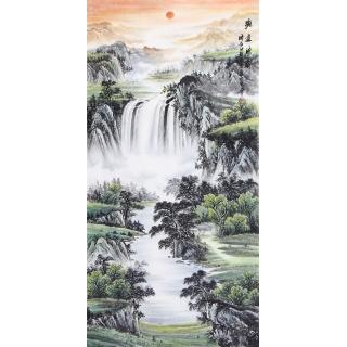 聚宝盆风水画 刘中芬四尺竖幅山水画《源远流长》