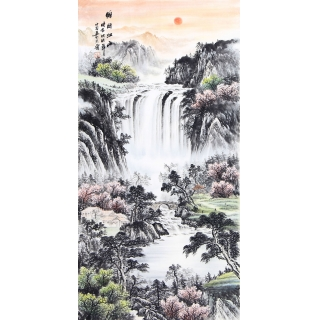 聚宝盆流水生财 刘中芬旺财风水画《锦绣江山》