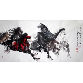【已售】山东美协王杰四尺八骏图《马到成功》