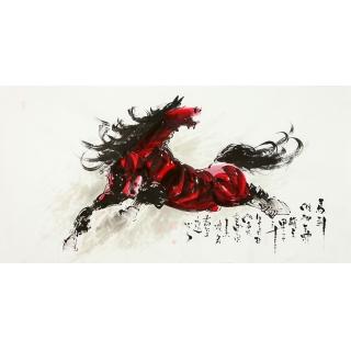 【已售】山东美协王杰四尺骏马图《马到成功》