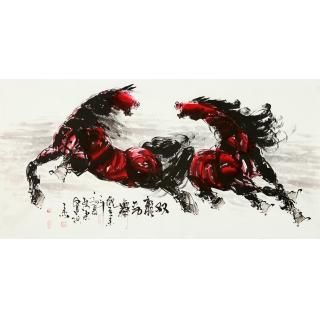 【已售】山东美协王杰四尺骏马图《双龙劲舞》