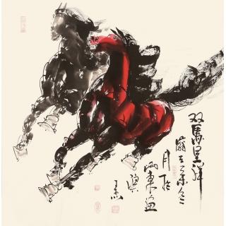 骏马图 王杰斗方动物画《双马呈祥》