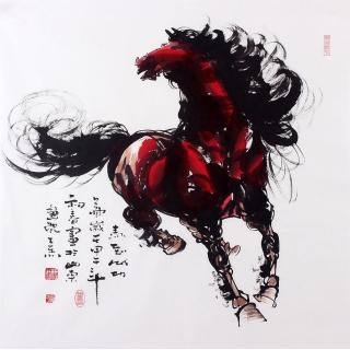 【已售】山东美协王杰四尺斗方国画马《马到成功》