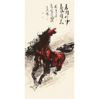 【已售】山东美协王杰四尺竖幅动物画《马到成功》