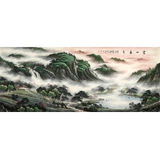 聚宝盆山水画 陈厚刚八尺山水画作品《云山春色》