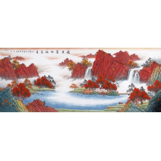 聚宝盆山水画 陈厚刚八尺山水画作品《鸿运当头福运至》