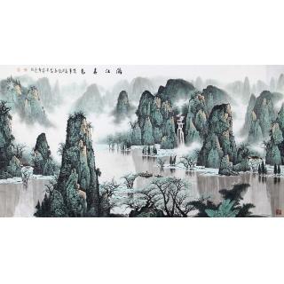 【已售】陈厚刚六尺横幅漓江山水画作品《漓江春色》