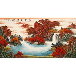 【已售】聚宝盆山水画 陈厚刚六尺山水画作品《鸿运当头》
