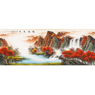 陈厚刚小六尺聚宝盆山水作品《鸿运天成》