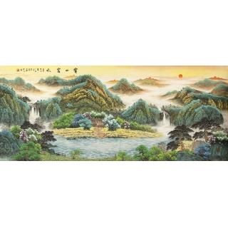 客厅风水挂画必选 赵君辉八尺横幅鸿运聚宝盆作品《宝山富水》