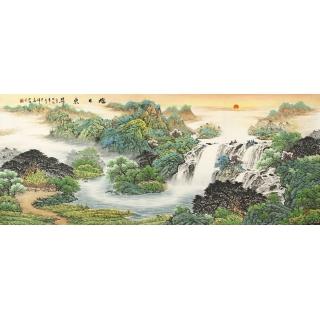 【已售】客厅聚宝盆山水画 赵君辉力作风水画《旭日东升》
