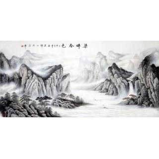 赵君辉六尺横幅山水画《渠畔春色》
