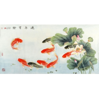 【已售】九鱼图 王一容工笔荷花鲤鱼图《连年有余》