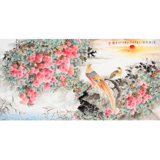 清华美院 韦仲传四尺横幅花鸟画《鸿运当头》