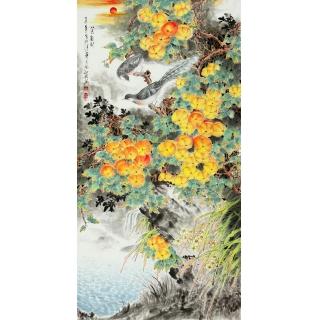韦仲传四尺竖幅花鸟画《八方聚财》