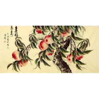 【已售】长寿图 当代画家于雪义花鸟画作品《多福长寿》