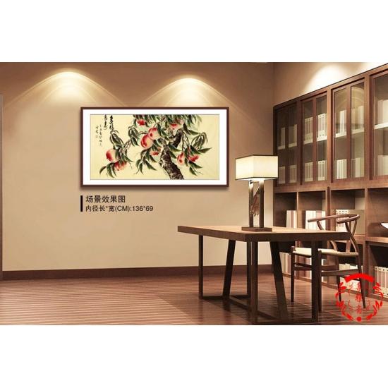 长寿图 当代画家于雪义花鸟画作品《多福长寿》