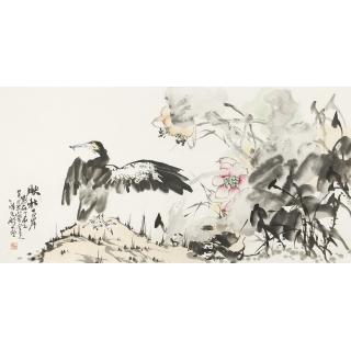 【已售】实力派画家陈大鹏四尺横幅花鸟画《映秋古岸》