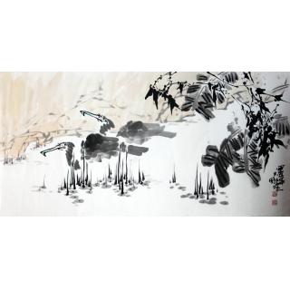 【已售】实力派画家陈大鹏四尺横幅花鸟画《鱼鹰图》
