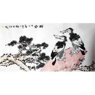 【已售】实力派画家陈大鹏四尺横幅花鸟画《雄风》