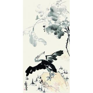 【已售】陈大鹏四尺竖幅花鸟画《秋趣》