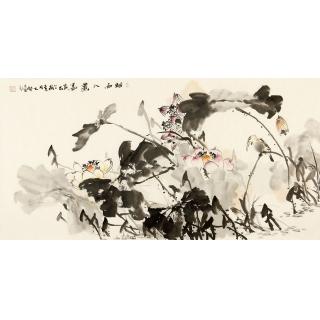 实力派画家陈大鹏四尺横幅花鸟画《烟雨入画图》