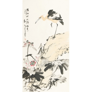 陈大鹏四尺竖幅花鸟画《残红也入诗》